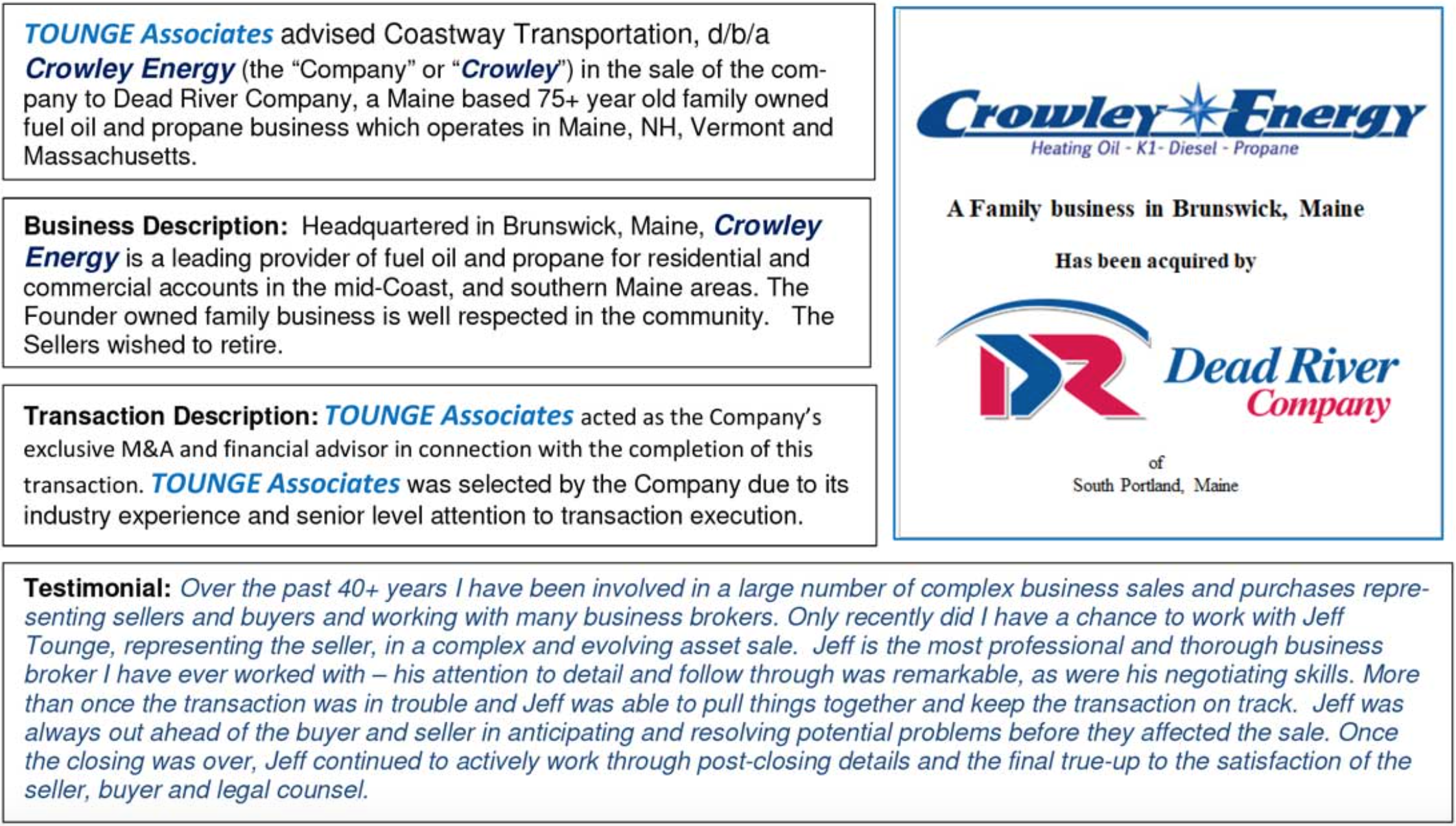 Tounge Associates and Crowley Energy